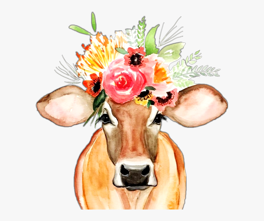 Crown watercolor with floral. Clipart cow flower