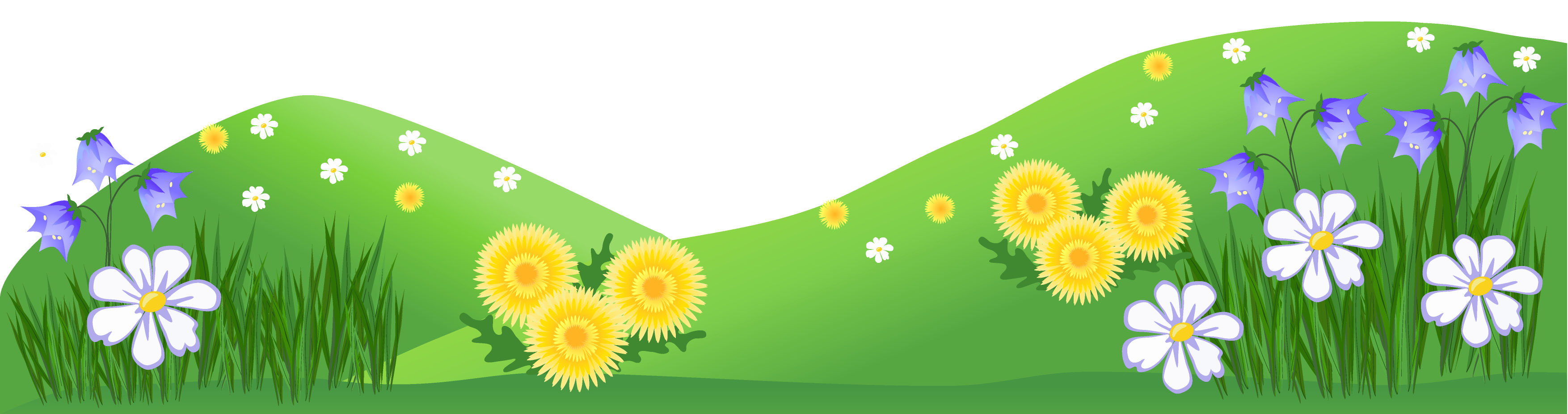 Grass ground with flowers. Clipart cow flower