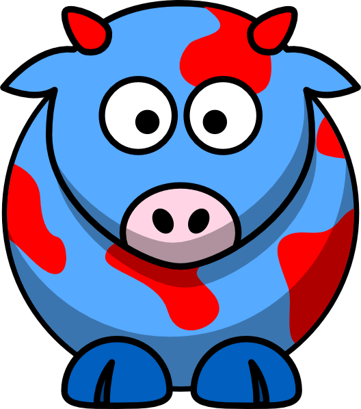 Blue red clip art. Clipart cow foot