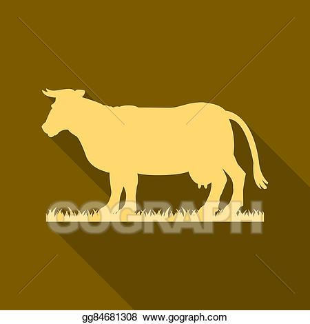 Cow clipart gold. Vector illustration silhouette of