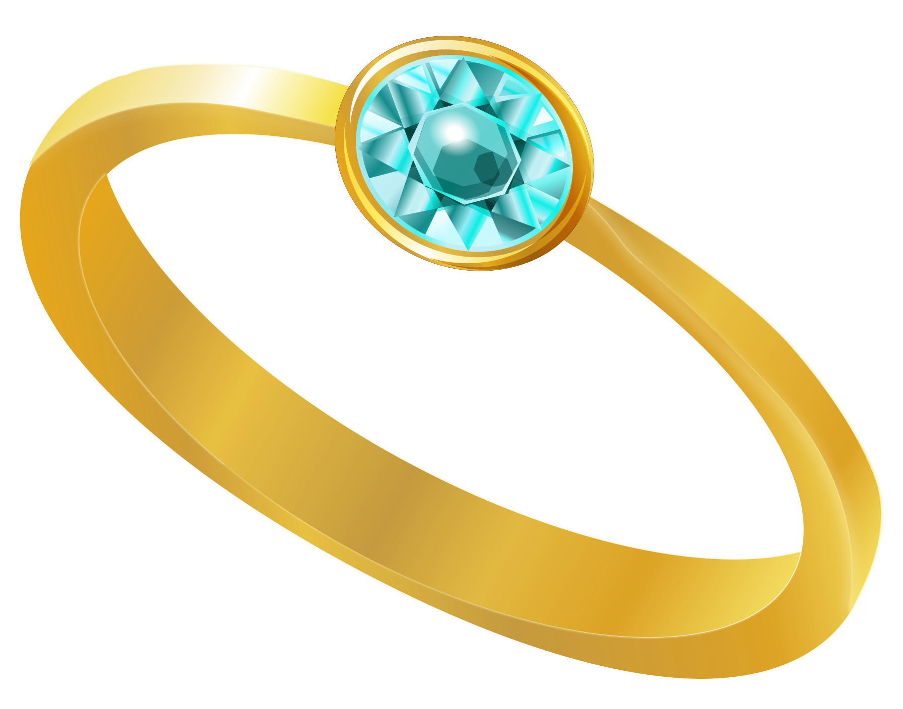 Golden ring with blue. Clipart diamond bunch
