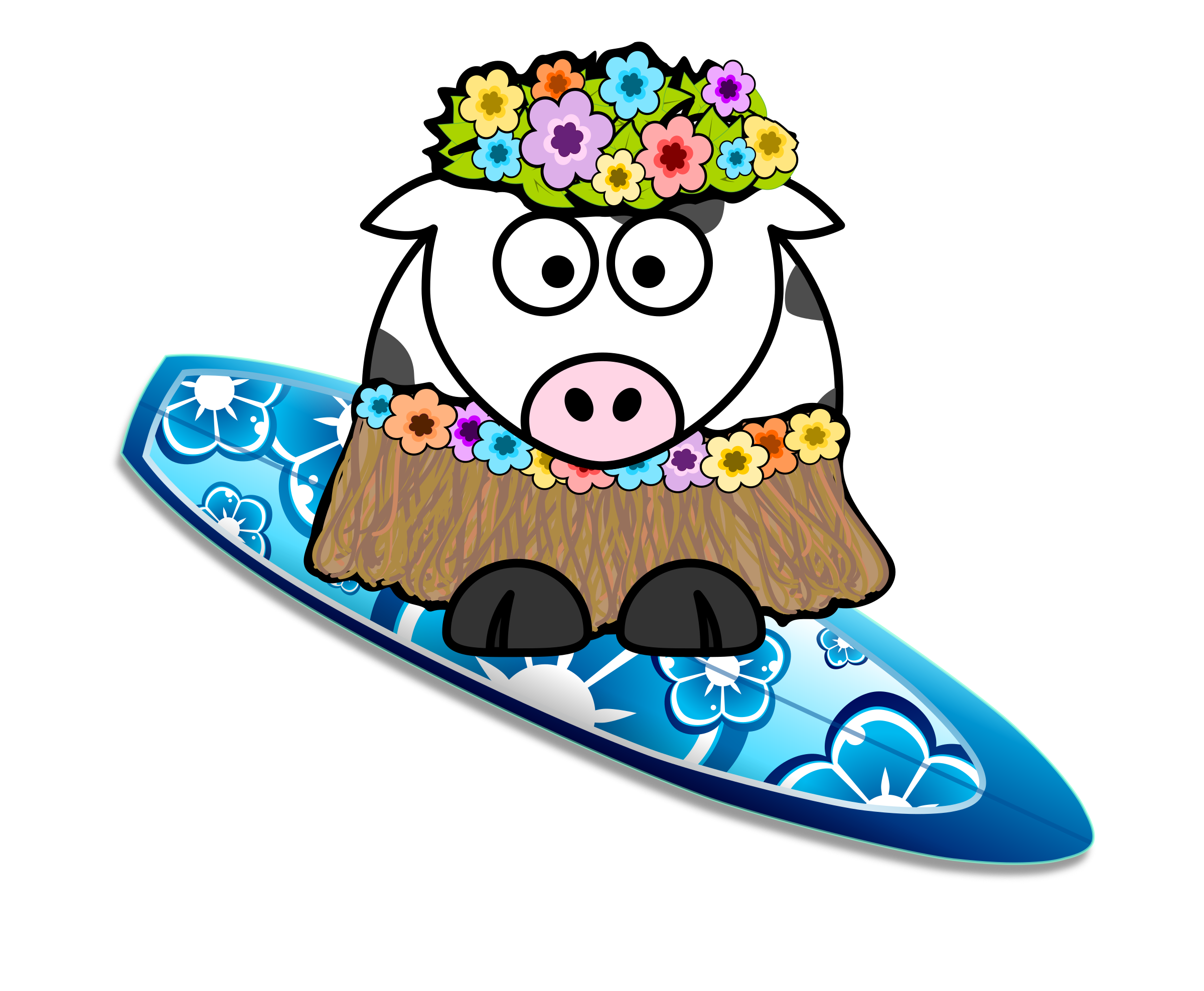 Surfer girl big image. Party clipart cow