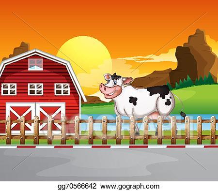 Vector art a beside. Cow clipart house