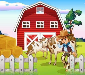 Cowboy inside the farm. Cow clipart home