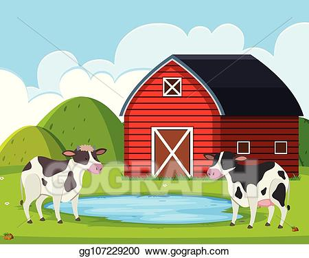 Cow clipart house. Vector illustration at rural