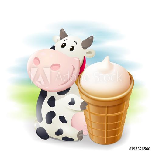 Cows clipart ice cream. Cartoon chubby cow with