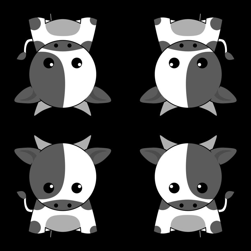 Zodiac fabric cindyhodesigns spoonflower. Clipart cow kawaii