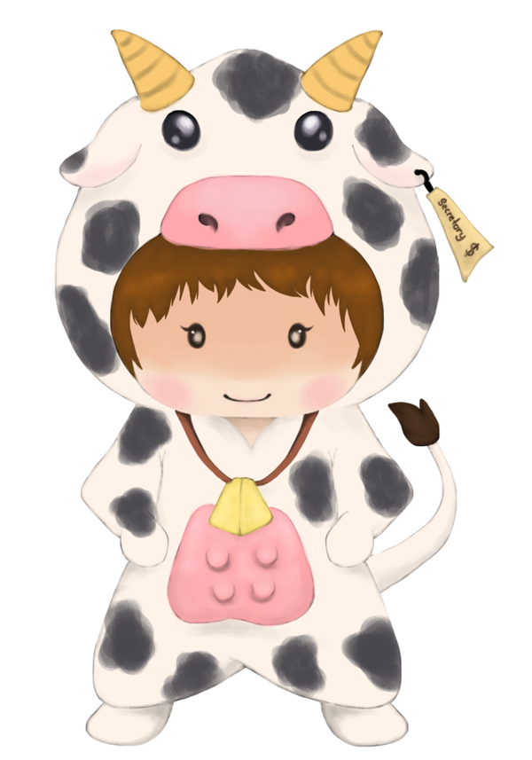Clipart cow kawaii. Chibi pencil and in