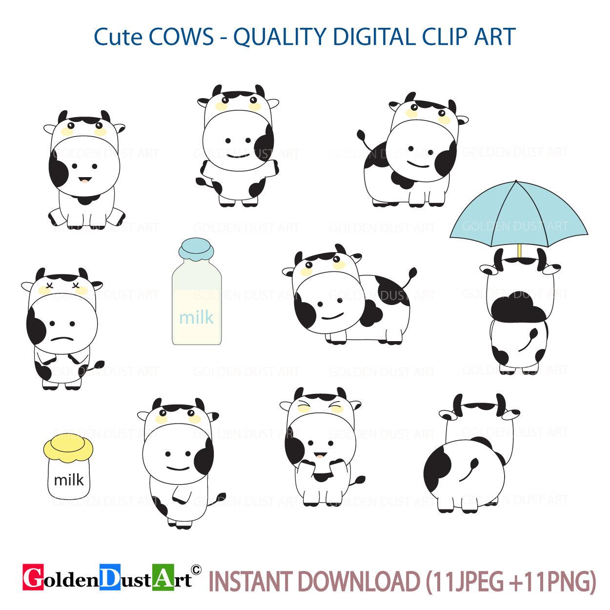 Cute cows animal milk. Clipart cow kawaii