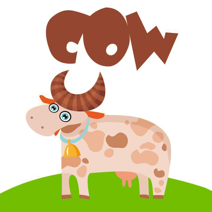 Dairy cattle milk cartoon. Ox clipart horns