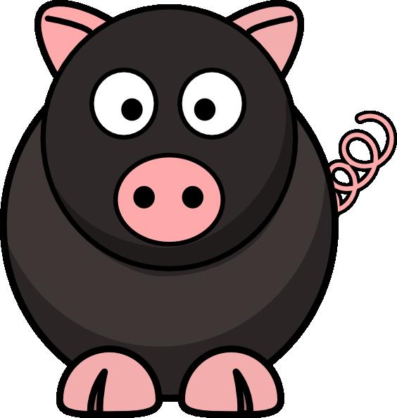 Black clip art at. Clipart pig cow