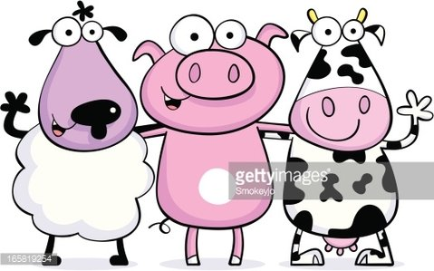 Sheep friends premium clipartlogo. Clipart pig cow