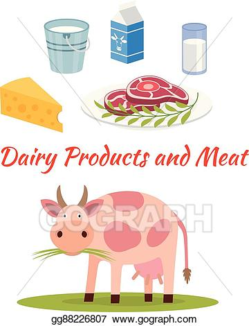 Vector art milk and. Clipart cow product