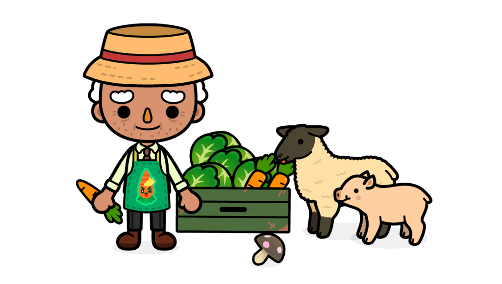 Farming clipart rice farmer. Toca life farm the