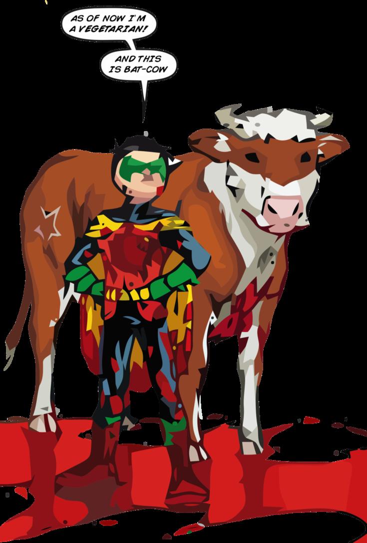Cows clipart superhero. Bat cow and robin