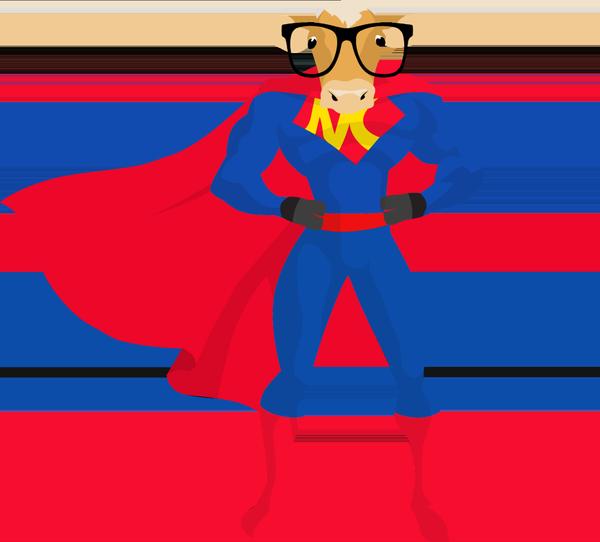 Nerd ltd on twitter. Clipart cow superhero