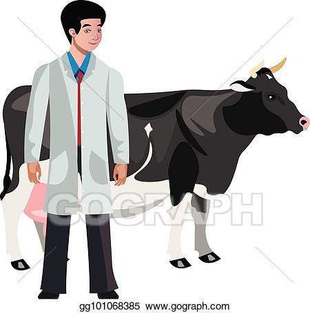 Vector illustration veterinarian character. Cow clipart vet