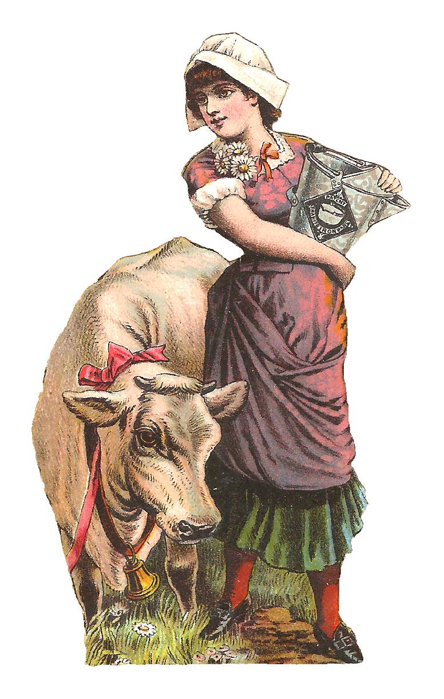 Hammock clipart medieval. Milk maid woman cow