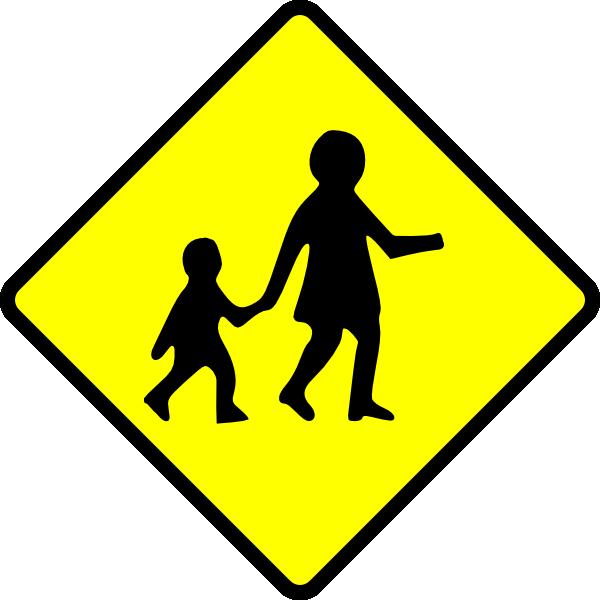 Clipart cross children's. Children crossing caution clip