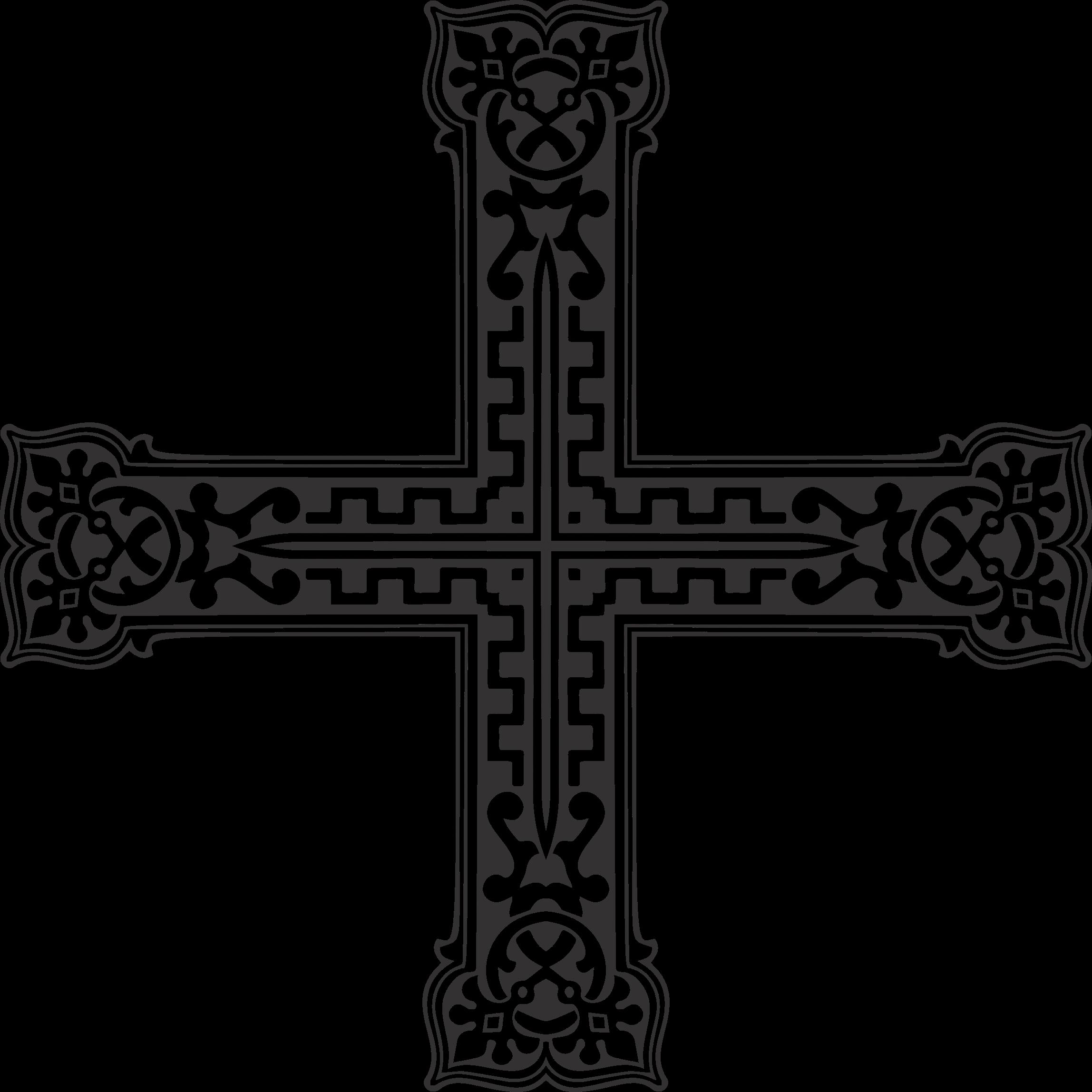 Vintage ornamental big image. Crucifix clipart decorative cross