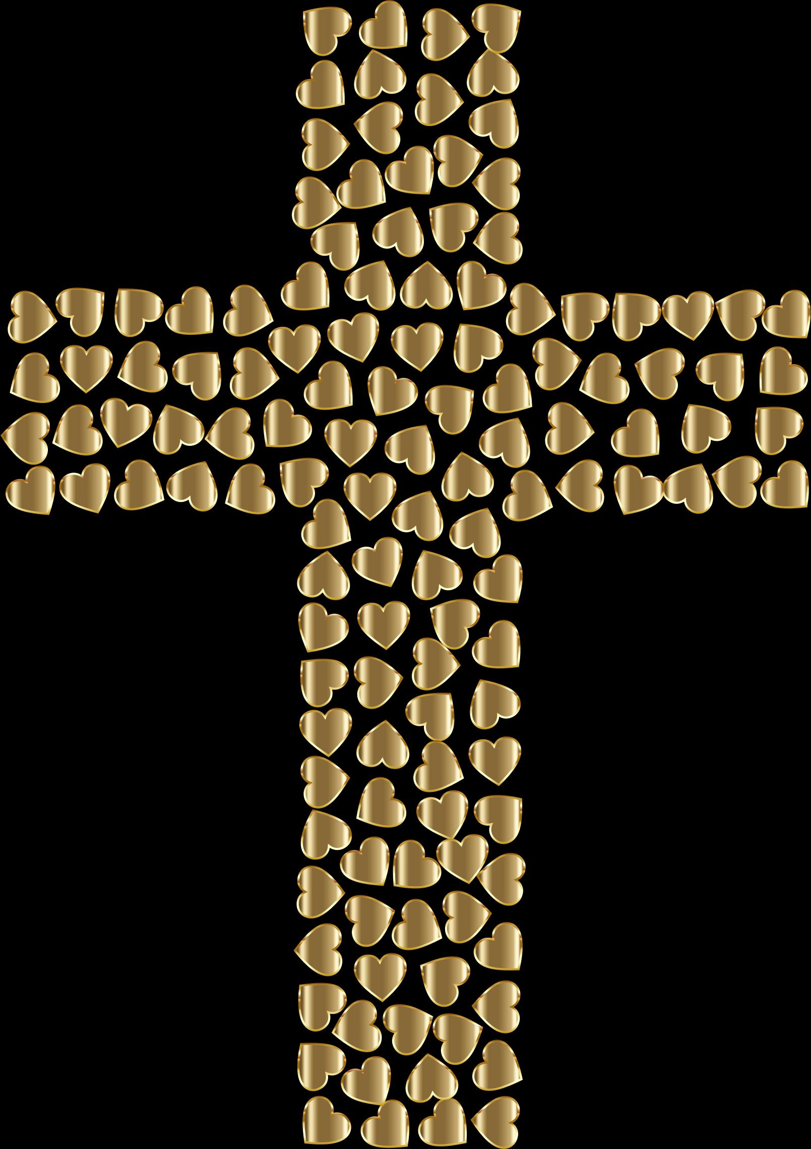 Golden hearts no background. Crucifix clipart big cross