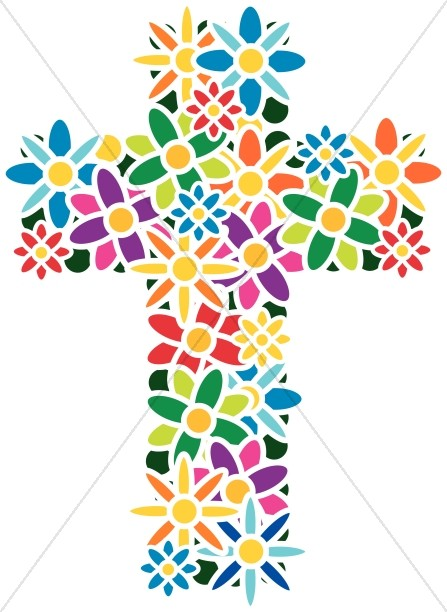 Flower . Clipart cross easter