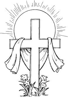 Black and white day. Clipart cross easter