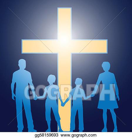 Cross clipart family. Eps vector christian standing