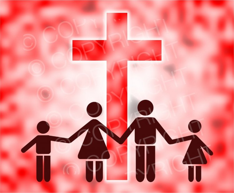 Cross clipart family. Christian standing by a