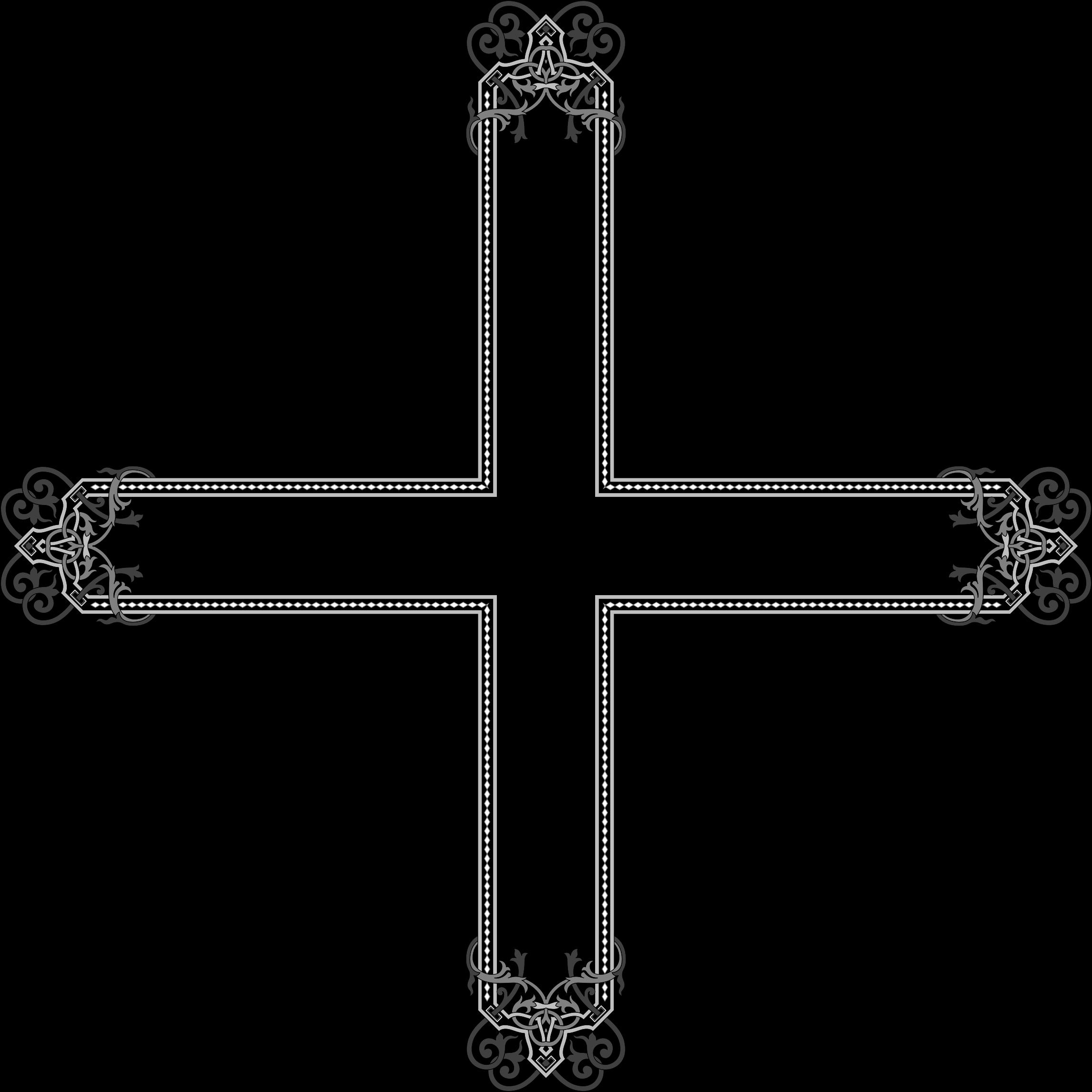 Floral flourish cross big. Crucifix clipart flower