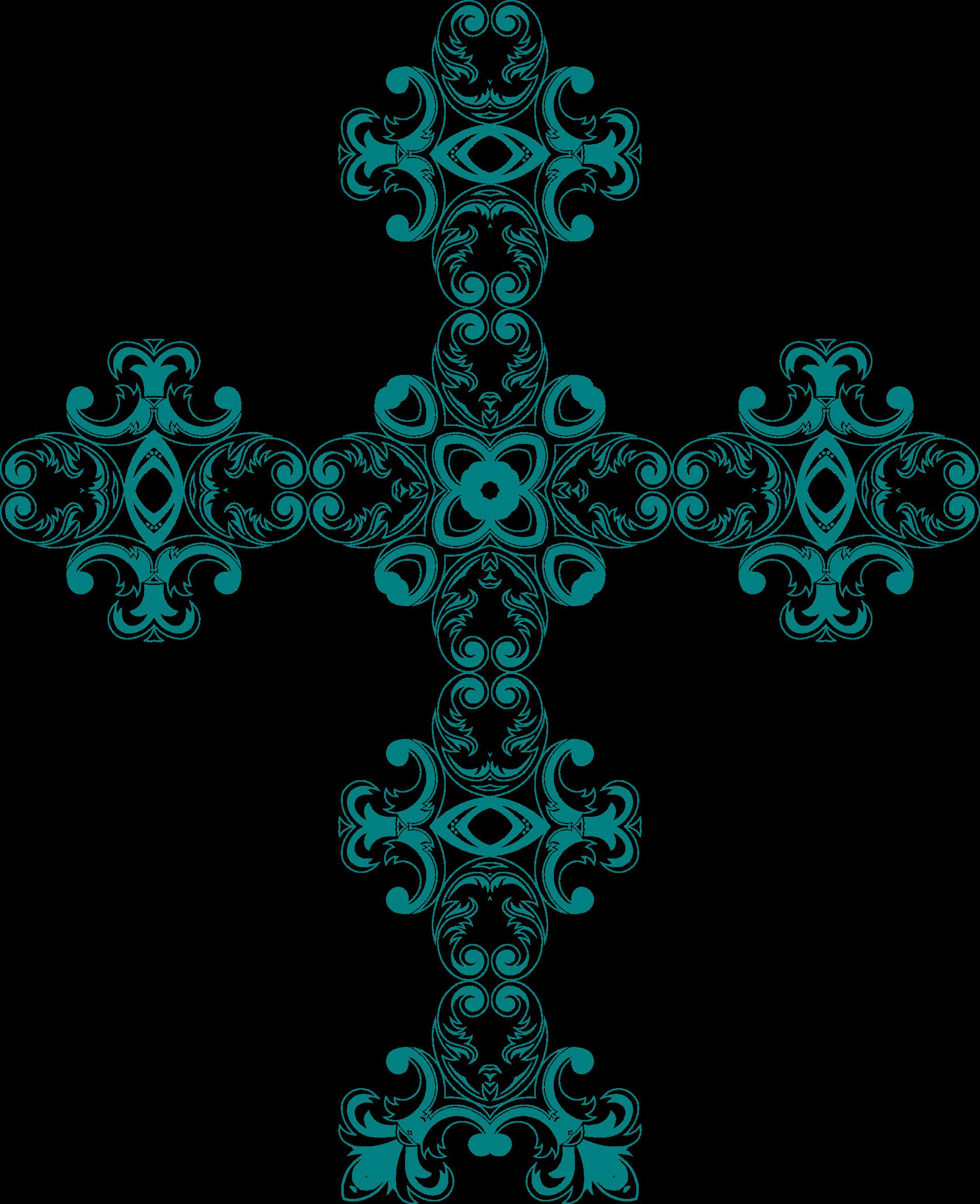 Vintage floral design mark. Crucifix clipart turquoise cross