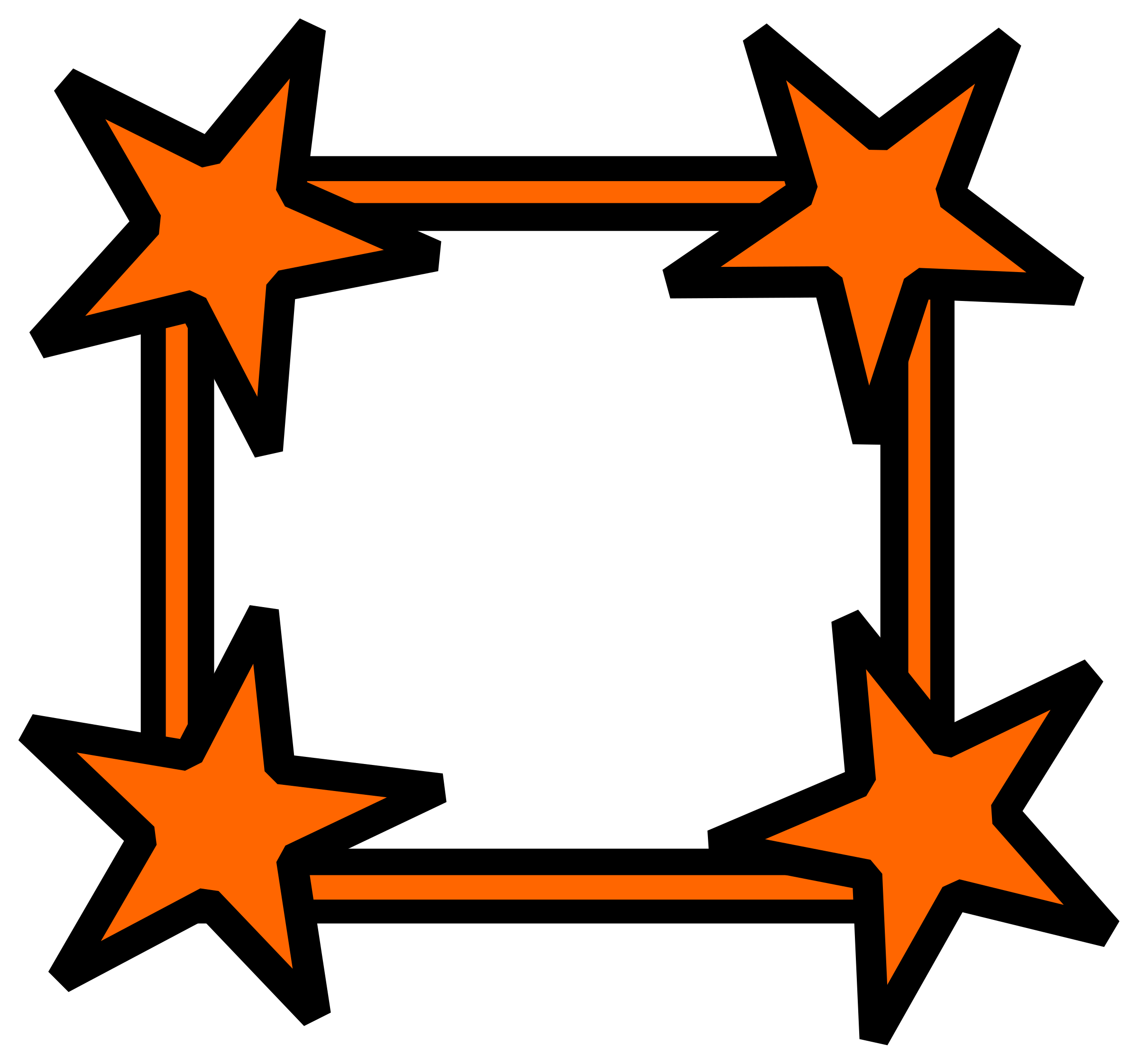 Simple star cornered big. Clipart cross frame