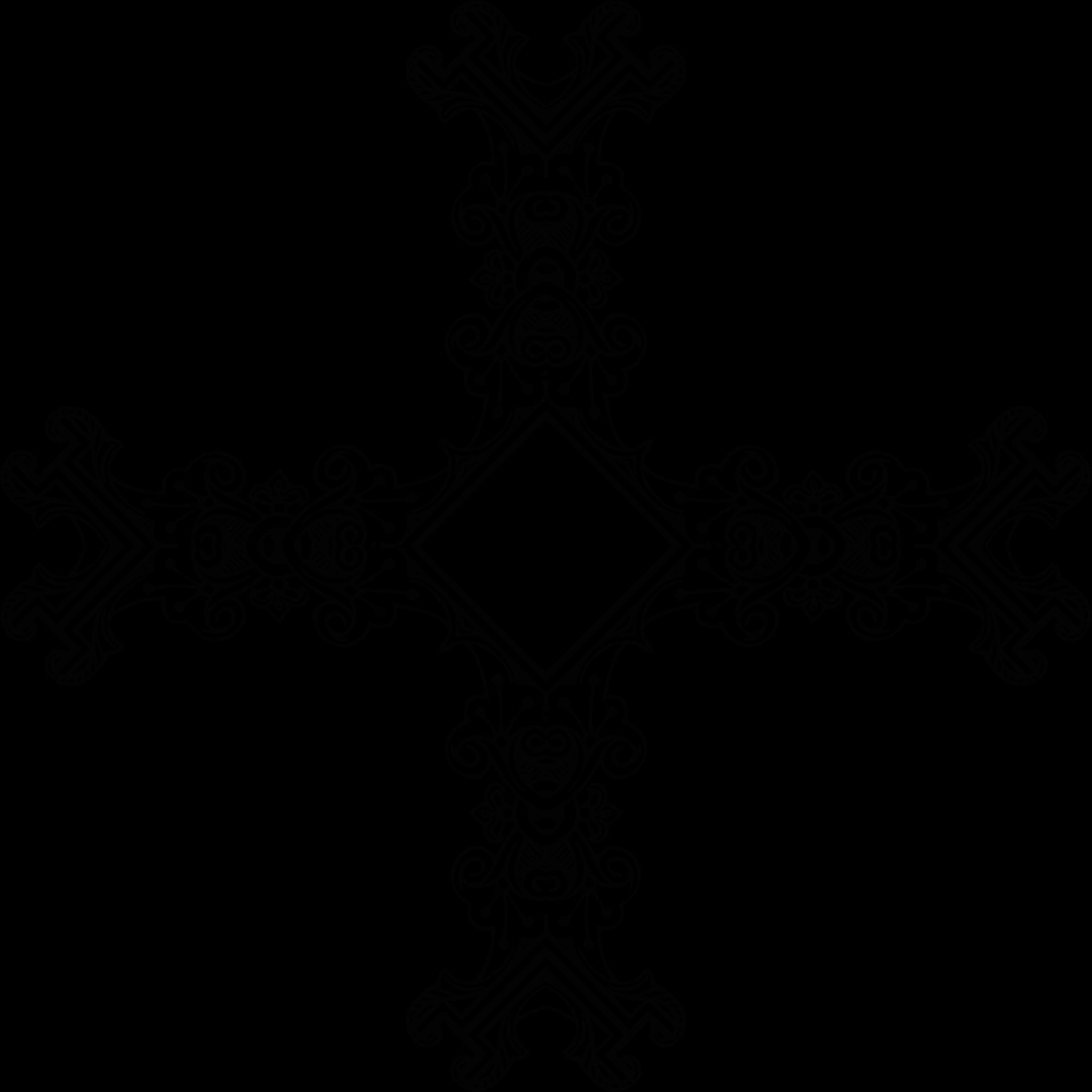 Vintage symmetric big image. Clipart cross frame
