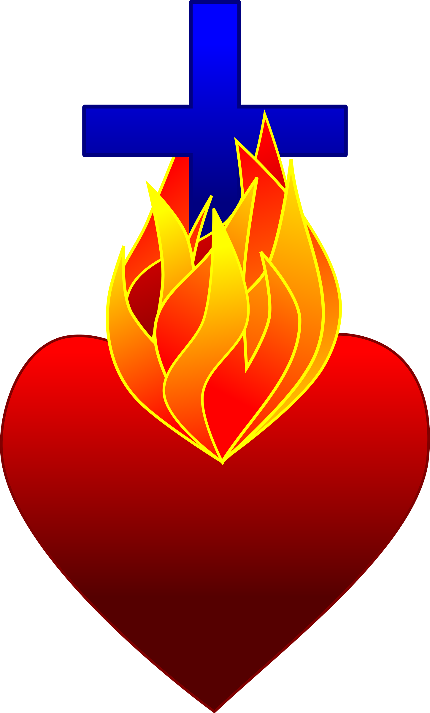 Heart on big image. Fire clipart pdf