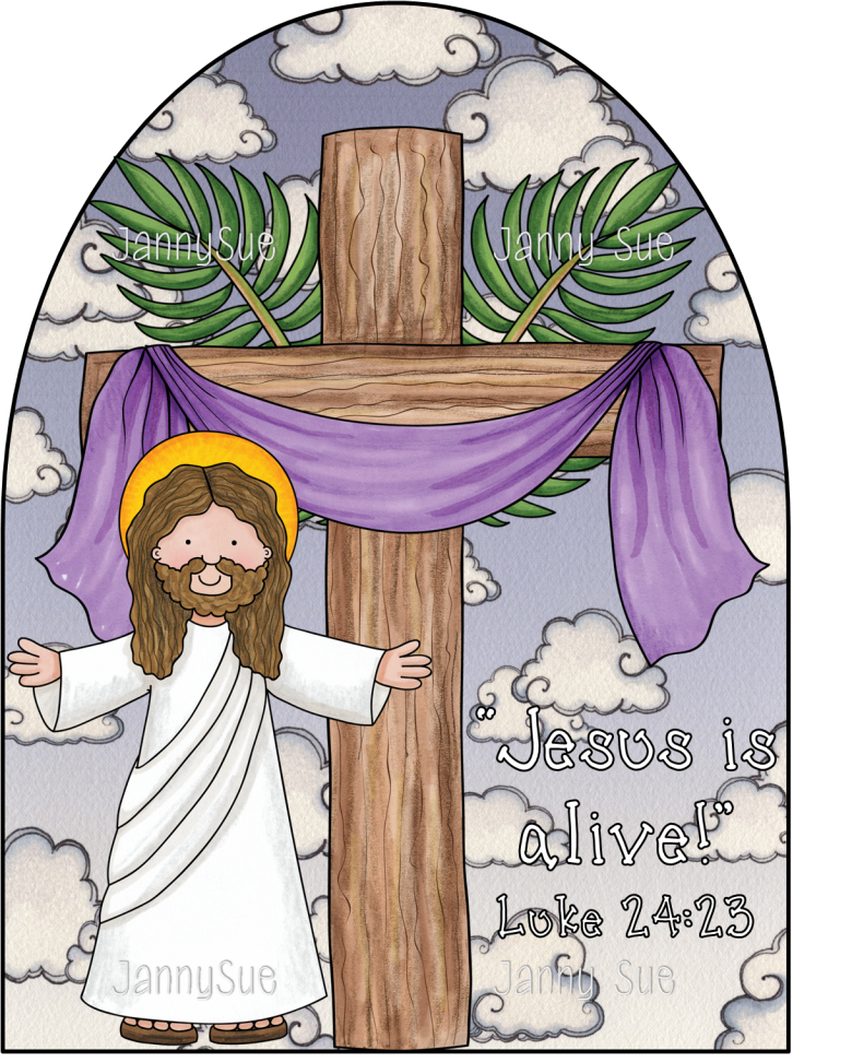 Jesus is alive craft. Easter clipart verse