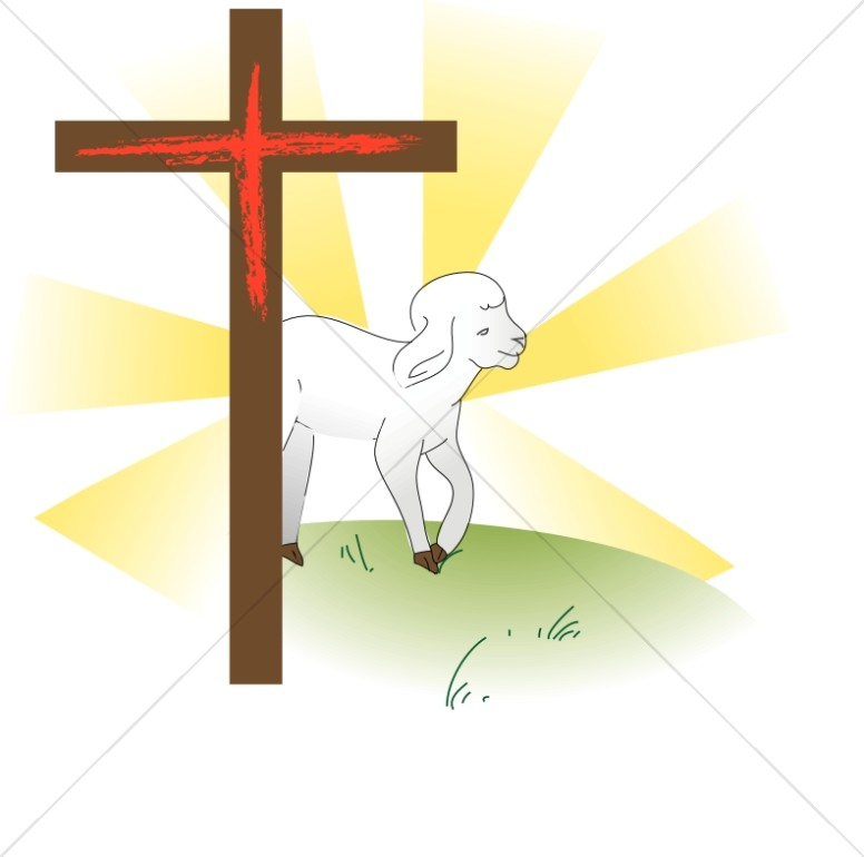 With . Lamb clipart cross