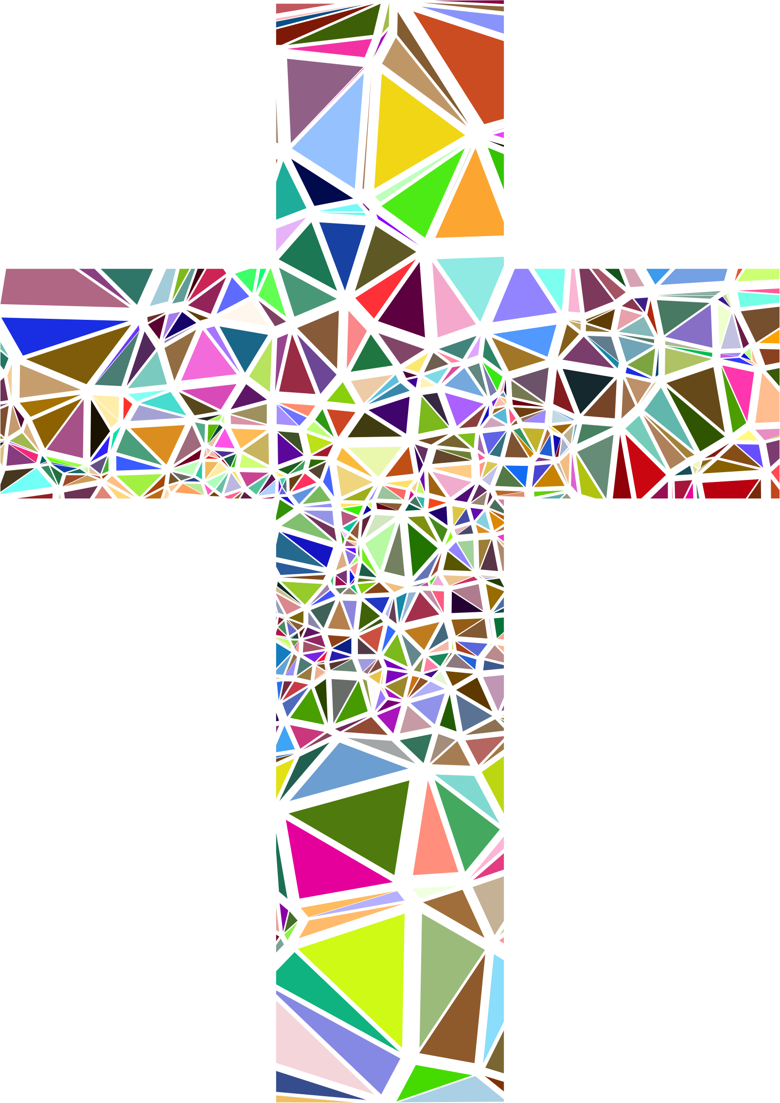 Cross clipart stained glass. Colorful collection low poly