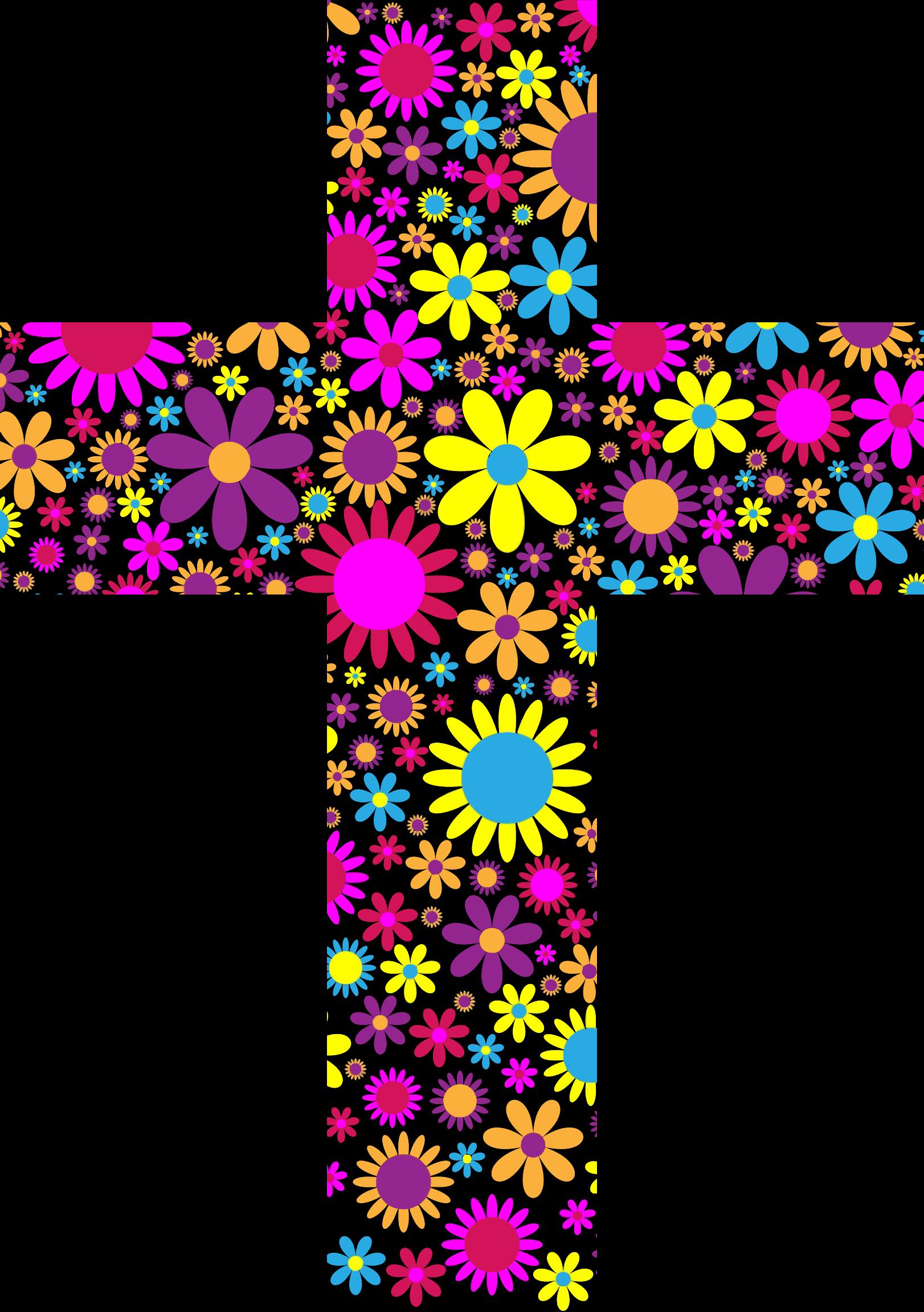 Floral big image png. Cross clipart purple