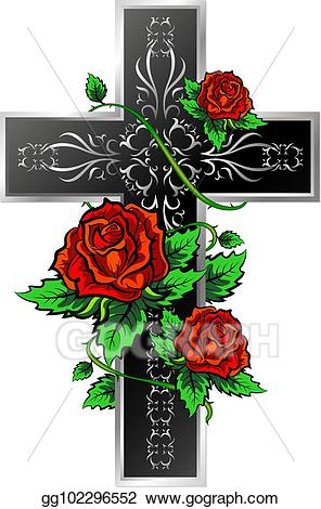 Clipart roses cross. Eps illustration with ornament