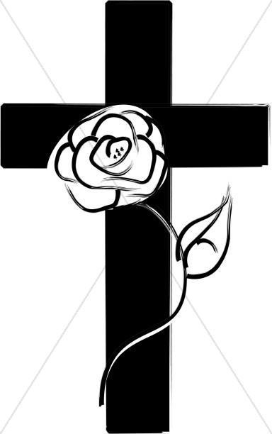 With rose . Clipart roses cross