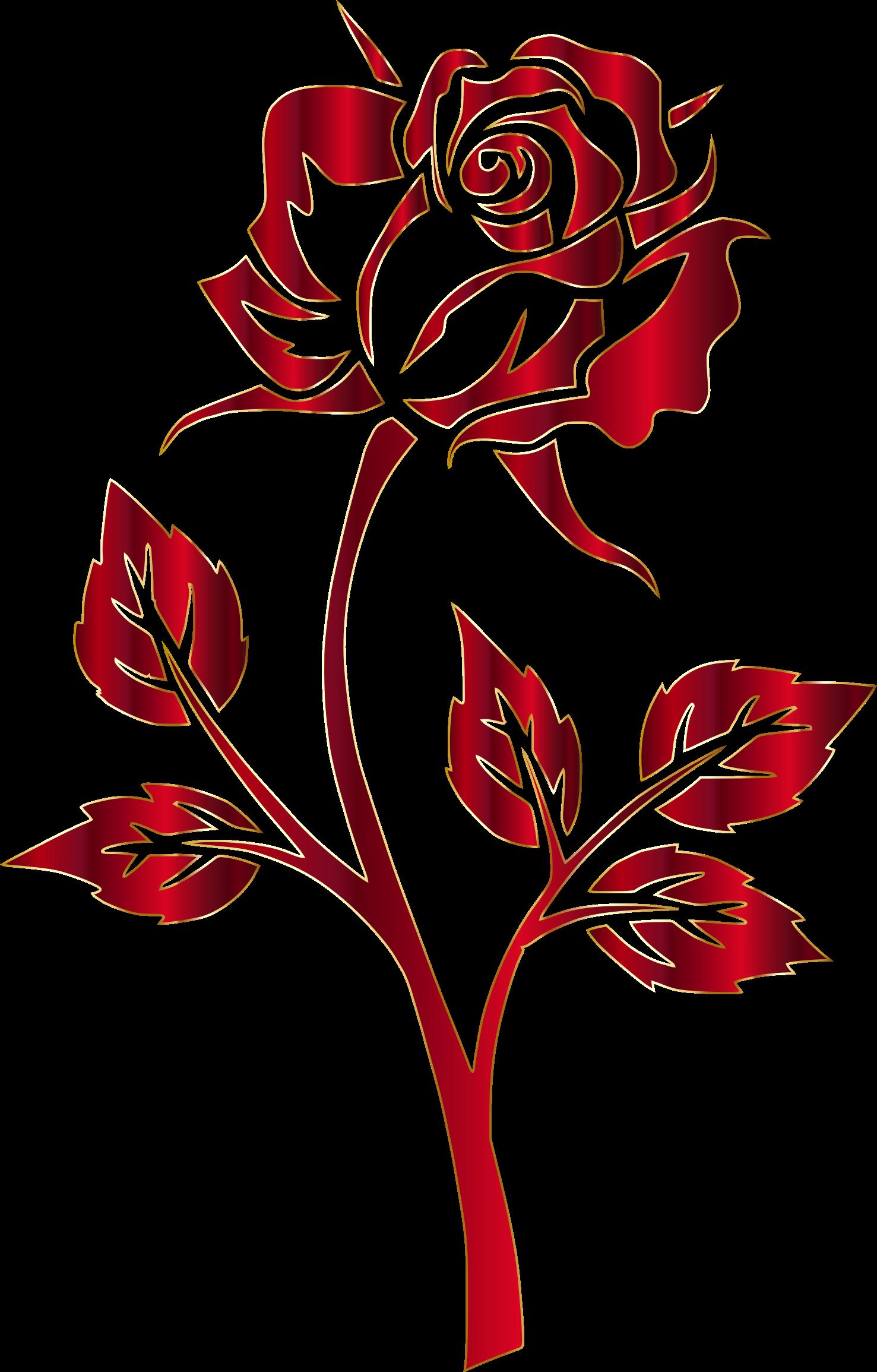 Vines clipart silhouette. Crimson rose no background