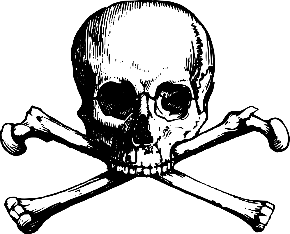 Skull and bones drawing. Clipart cross sketch