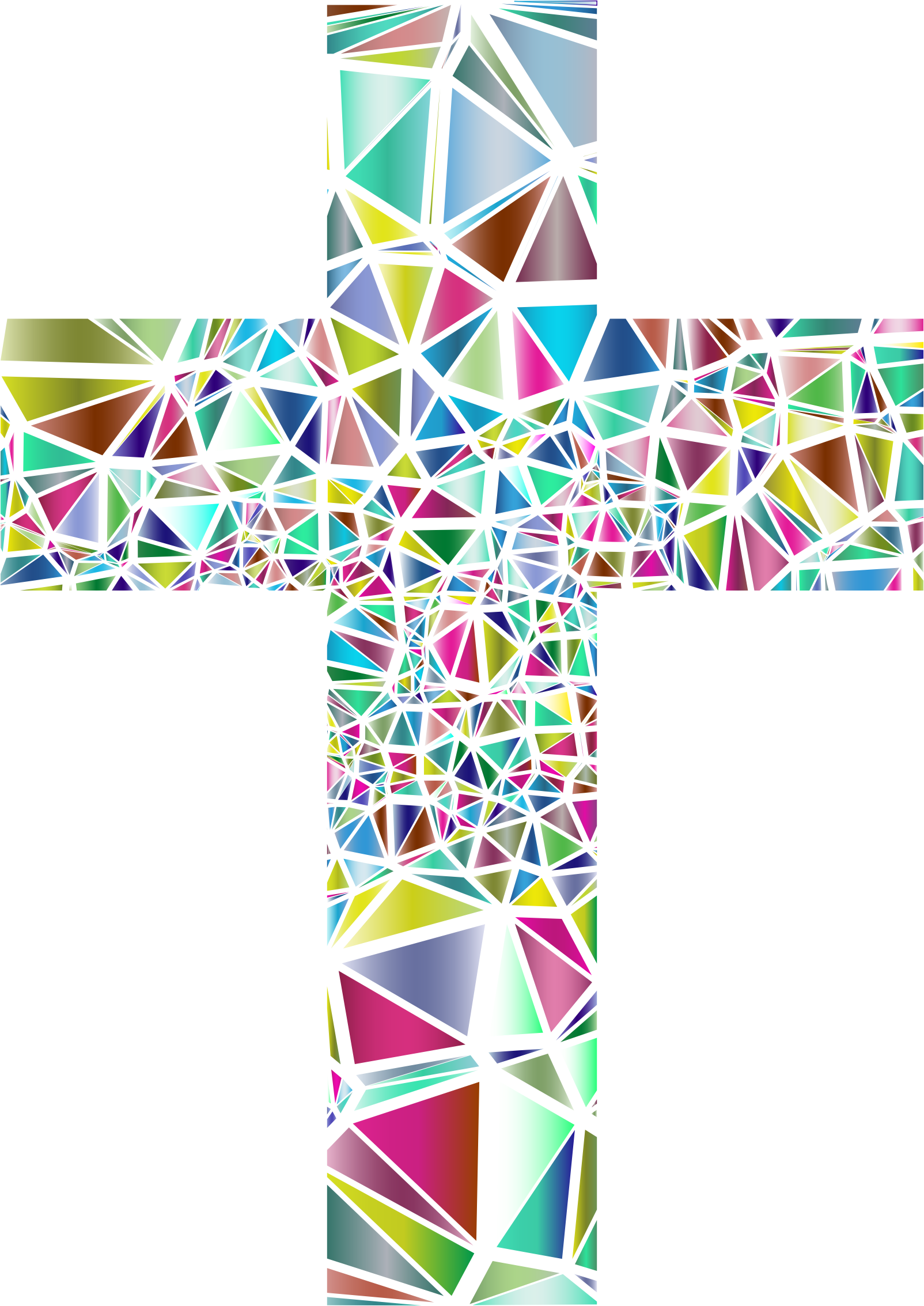Cross clipart stained glass. Low poly no background