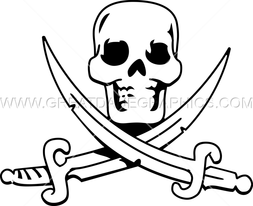 Scull production ready artwork. Cross clipart swords