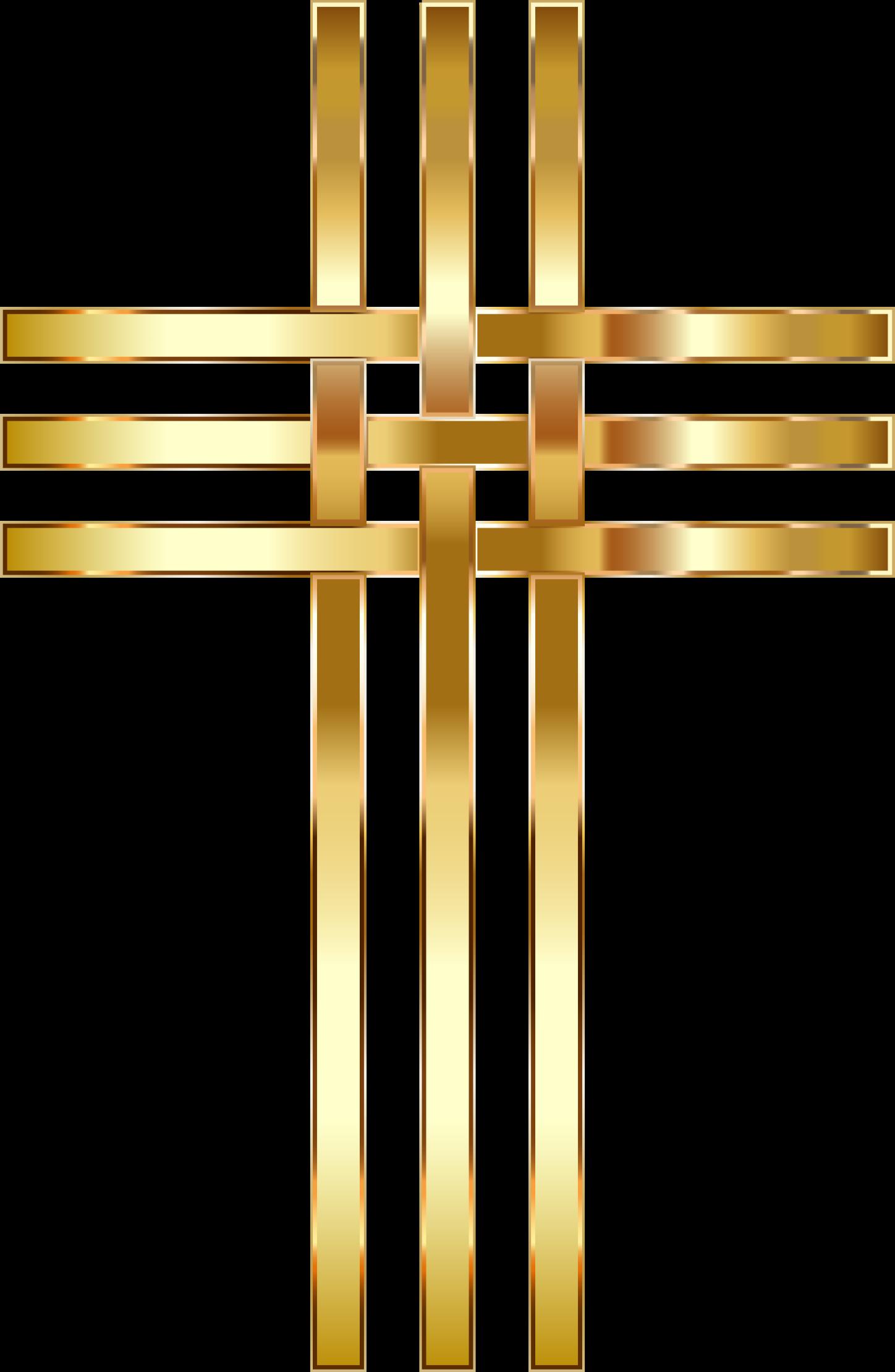Clipart cross transparent background. Interlocked stylized golden no