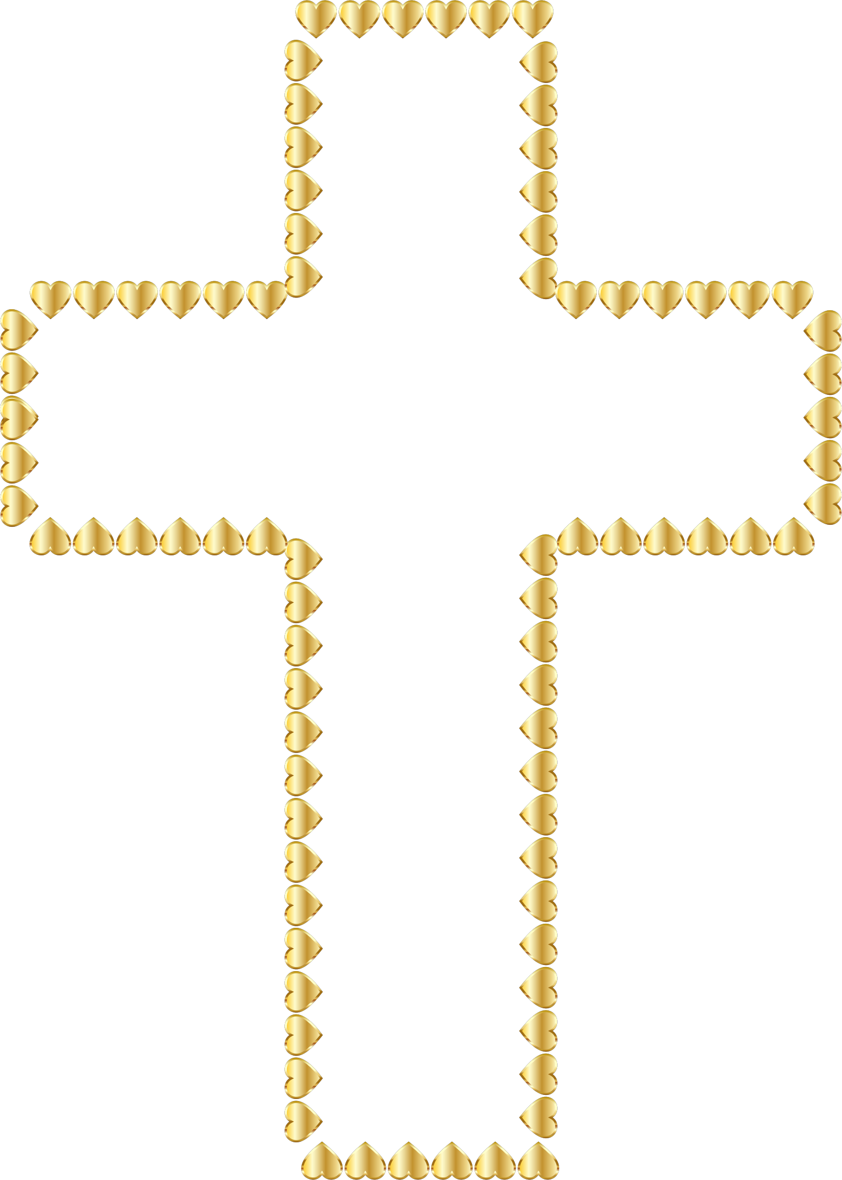 Golden hearts no icons. Clipart cross transparent background