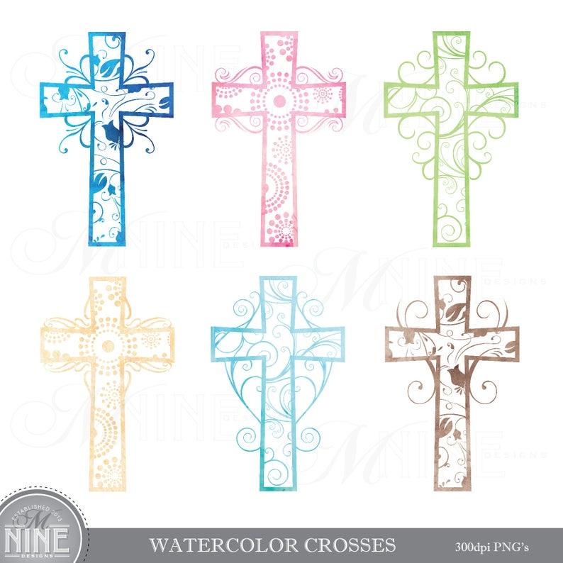 Crucifix clipart watercolor. Cross clip art pattern