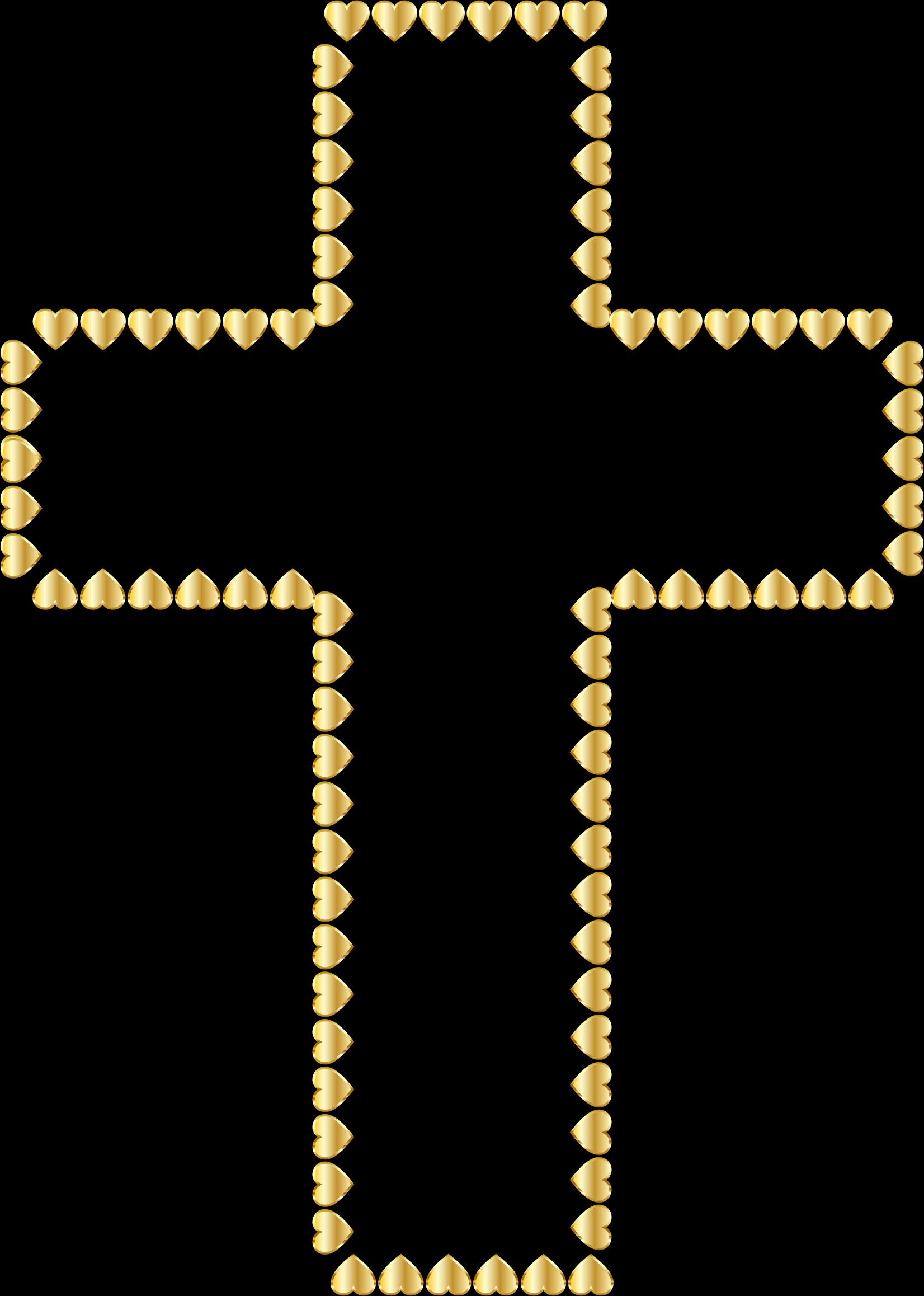 Cross clipart baptism. Golden hearts no background