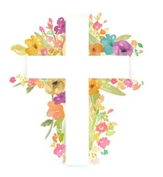 Crucifix clipart watercolor. Cross with flowers flower