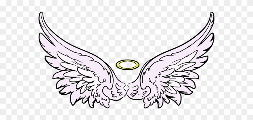 Crown angel wings drawing. Wing clipart angel's wing